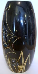 Carlton Ware - Skittle Vase in Black & Gold Spider's Web Design by Marie Graves - SOLD